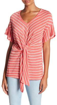 Timing Front Tie Striped Short Sleeve Shirt