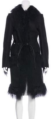 Gucci Fur-Trimmed Shearling Coat