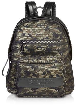 Balmain Military Green/black Camouflage Nylon Men's Club Backpack W/embossed Signature Logo