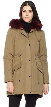Co The Portland Plaid Women's Winter Jacket with Faux Fur Body Lining and Detachable Hood Fur Trims XLarge