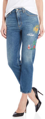 Love Moschino High-Rise Embroidered Straight Cropped Jeans