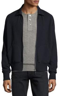 Tom Ford Zip-Front Shirt-Collar Knit Jacket, Navy