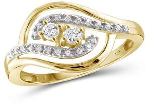 JewelersClub 1/5 Carat T.W. Round-Cut White Diamond 10kt Yellow Gold Two-Stone Ring