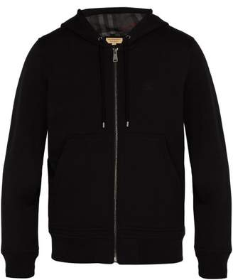 Burberry Logo Embroidered Hooded Cotton Sweatshirt - Mens - Black