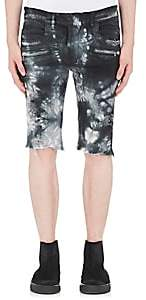 Balmain MEN'S TIE-DYED DENIM SHORTS - BLACK SIZE XL