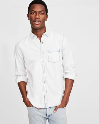 Express Slim One Pocket Bleach Wash Denim Shirt