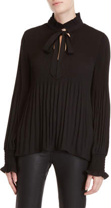 Max Studio Pleated Long Sleeve Blouse