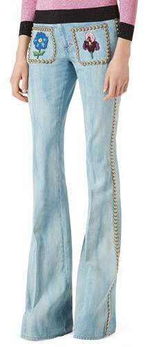 Gucci Gucci Embroidered Denim Flare-Leg Pants with Studs