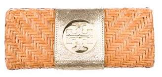 Tory Burch Metallic Leather-Trimmed Rattan Clutch