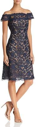 Tadashi Shoji Illusion Off-the-Shoulder Lace Dress - 100% Exclusive
