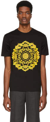 Versace Black Hibiscus Slim Fit T-Shirt