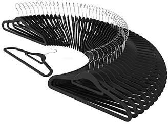 CRESNEL 50pcs Velvet Clothes Hangers - Slim Space Saving Design for Men and Women Dress Suit - Black