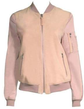 Mackage Women's Vimka Suede& Satin Bomber Jacket - Petal - Size Small