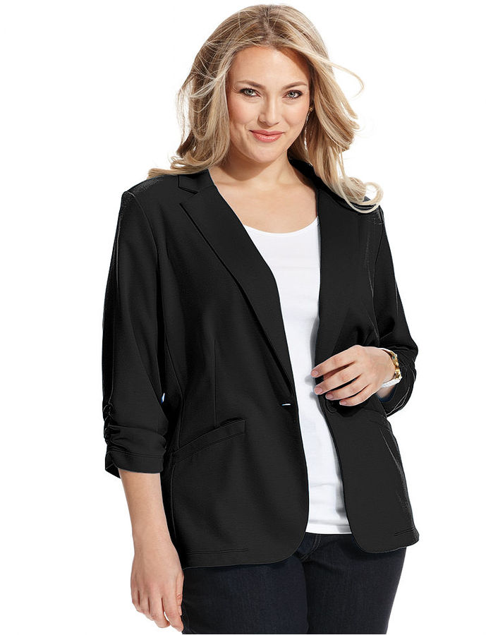 Style&Co. Plus Size Ruched-Sleeve Blazer