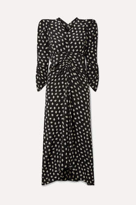 Isabel Marant Albi Ruched Floral-print Silk-crepe Midi Dress - Black