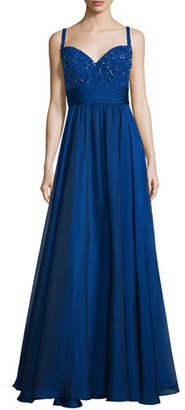 La Femme Sleeveless Sweetheart Beaded-Bodice Combo Gown $358 thestylecure.com