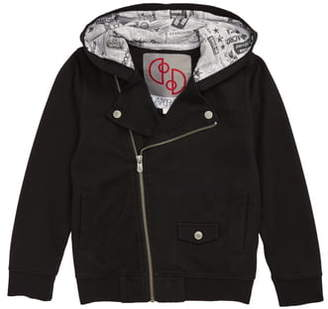 Flapdoodles French Terry Hooded Moto Jacket