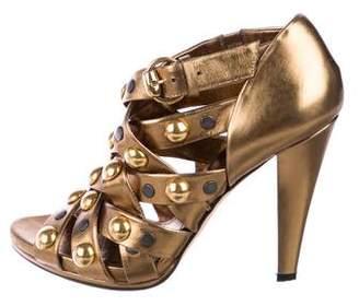 Gucci Studded Metallic Booties