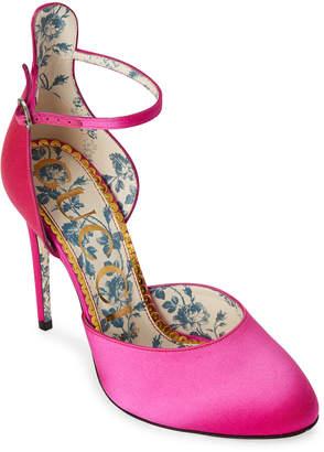 Gucci Ladies Pure Fuchsia Daisy Ankle Strap Satin Pumps