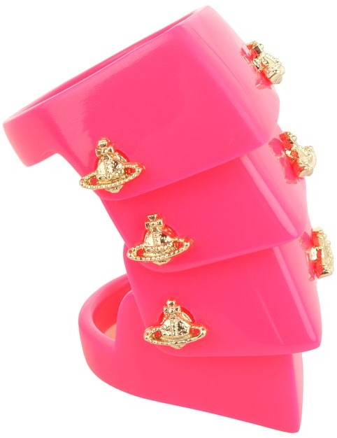 Vivienne Westwood - Resin Armour Ring (Neon Red/Gold) - Jewelry