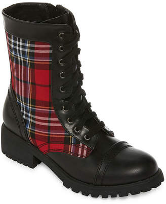 Arizona Womens Jones Combat Boots Block Heel Zip