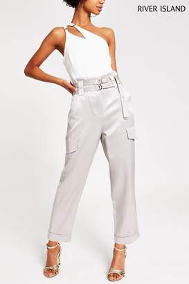River Island Womens Silver Milan Utility Trousers - Silver