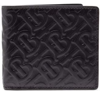 Burberry Logo Embossed Leather Wallet - Mens - Black