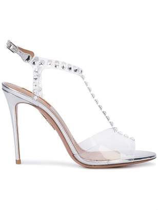 Aquazzura studded transparent sandals