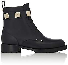 Valentino Women's Lock Leather Combat Ankle Boots-Black