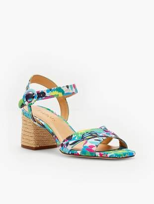 Talbots Siena Rope Heel Sandals - Printed Twill