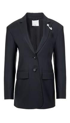Tibi Tropical Wool Oversized Blazer with Removable Straps