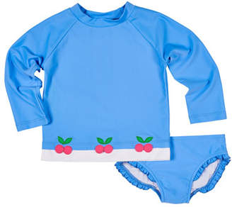 Florence Eiseman Cherry Applique Rash Guard w/ Ruffle-Trim Bottoms, Size 2-6X