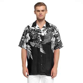 Hawaii Hangover Men's Hawaiian Shirt Aloha Shirt Floral Edge in Black S