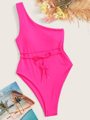 ee6b36d86860 Shein Neon Pink One Shoulder Belted One Piece Swimsuit