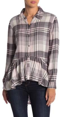 Melrose and Market Plaid Print Hi-Lo Ruffle Hem Tunic