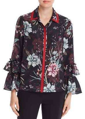 Badgley Mischka Floral Ruffle Sleeve Blouse