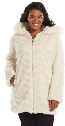 Gallery Plus Size Hooded Faux-Fur Jacket