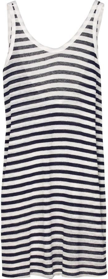 T by Alexander Wang Striped linen-blend tank dress