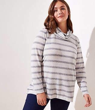 LOFT Plus Striped Cowl Neck Tunic Top