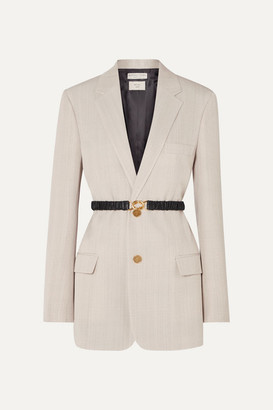 Bottega Veneta Leather-trimmed Woven Blazer - Beige