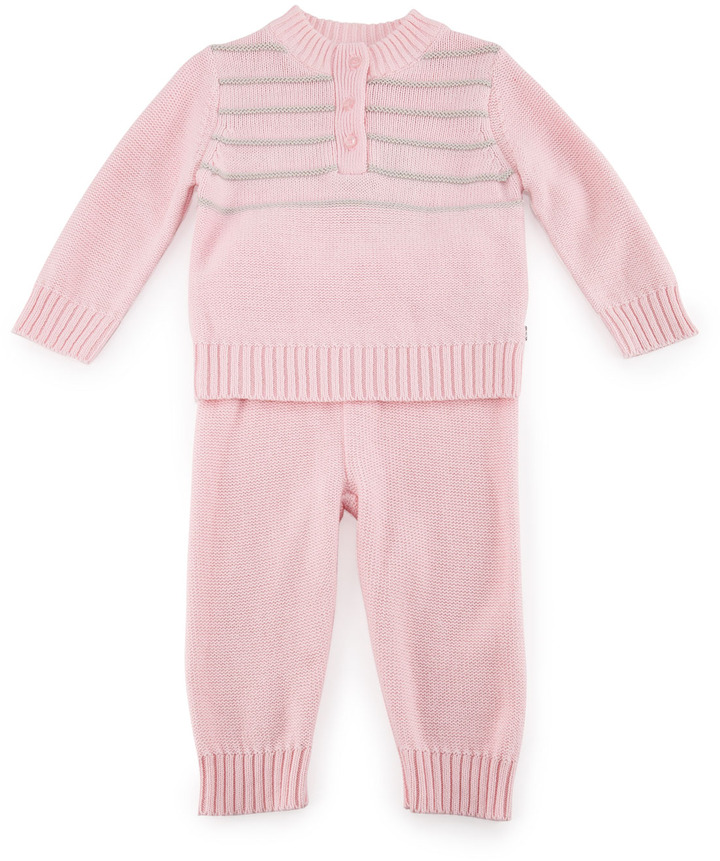 Petit Lem Two-Piece Pajama Set, Pale Pink, 3-9 Months