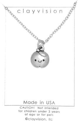 Swarovski Clayvision Happy Apple Teacher Charm Necklace with No Crystal