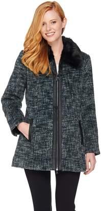 Dennis Basso Zip Front Tweed Coat with Faux Fur Collar