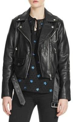 Maje Bassung Leather Biker Jacket