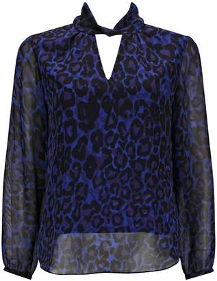 23f15a90726f WallisWallis PETITE Blue Animal Print Twist Neck Blouse