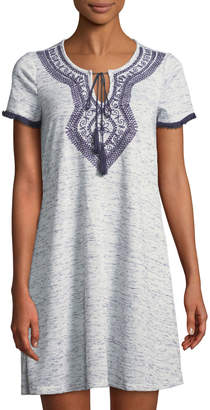 Neiman Marcus Embroidered Tie-Neck T-Shirt Dress