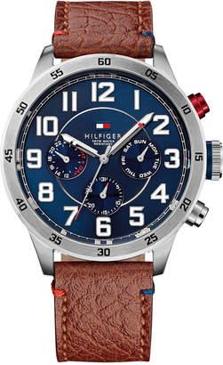 Tommy Hilfiger Men's Brown Leather Strap Watch 46mm 1791066