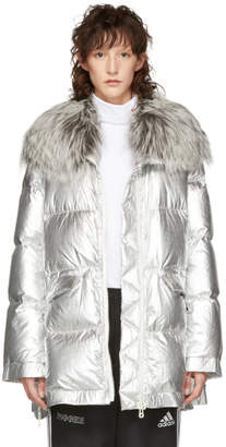 Yves Salomon Army Silver Ultra Light Down Puffer Jacket