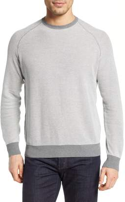 David Donahue Regular Fit Bird's Eye Sweater