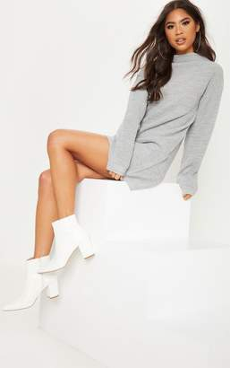 PrettyLittleThing Grey Knitted Long Sleeve Dress